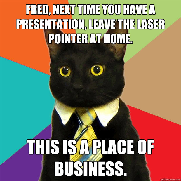 fred, next time you have a presentation, leave the laser pointer at home. this is a place of business. - fred, next time you have a presentation, leave the laser pointer at home. this is a place of business.  Business Cat