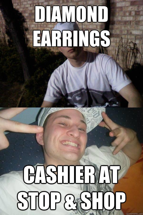 Diamond earrings Cashier at Stop & Shop