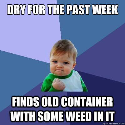 Dry for the past week finds old container with some weed in it - Dry for the past week finds old container with some weed in it  Misc