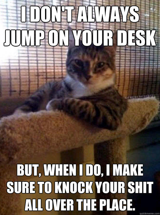 I don't always jump on your desk But, when I do, I make sure to knock your shit all over the place. - I don't always jump on your desk But, when I do, I make sure to knock your shit all over the place.  The Most Interesting Cat in the World