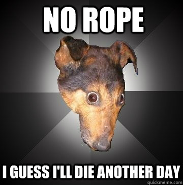 No rope I guess I'll die another day - No rope I guess I'll die another day  Depression Dog