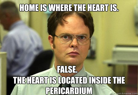 Home is where the heart is. the heart is located inside the pericardium False. - Home is where the heart is. the heart is located inside the pericardium False.  Dwight