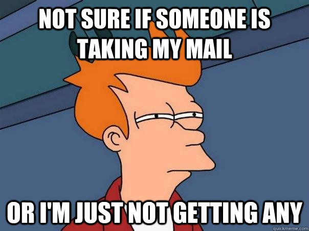 Not sure if someone is taking my mail Or I'm just not getting any - Not sure if someone is taking my mail Or I'm just not getting any  Futurama Fry