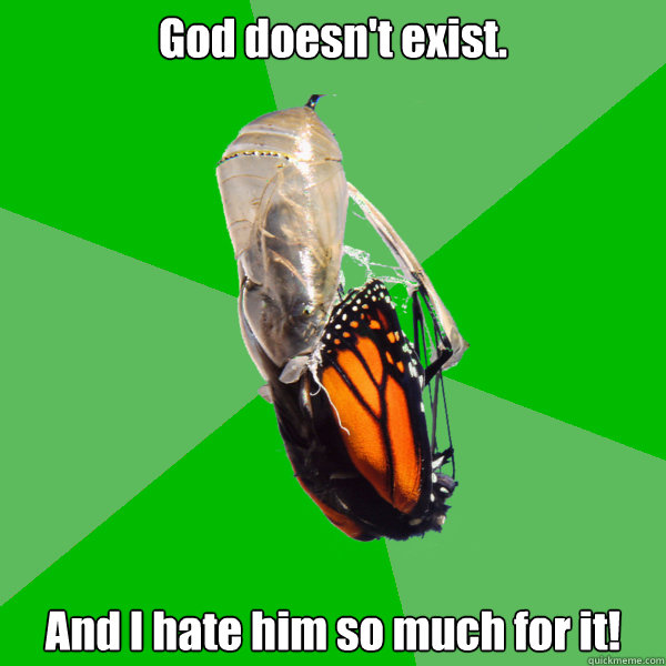 God doesn't exist. And I hate him so much for it! - God doesn't exist. And I hate him so much for it!  Transitional Atheist Butterfly