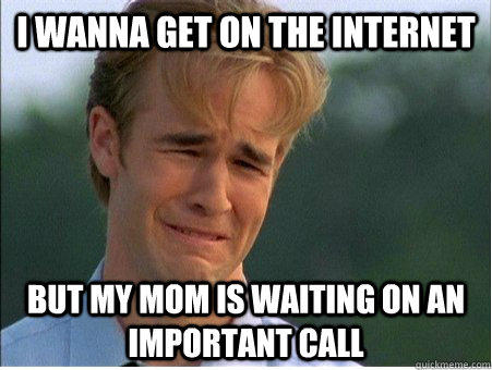 I wanna get on the internet but my mom is waiting on an important call