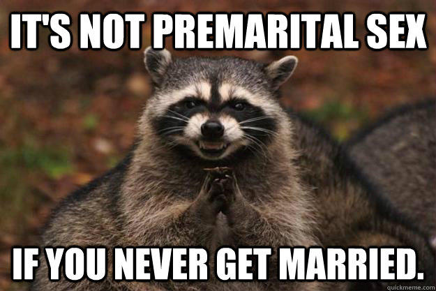 It's not premarital sex If you never get married.  - It's not premarital sex If you never get married.   Evil Plotting Raccoon