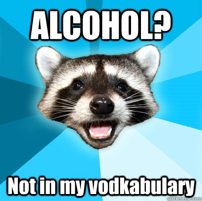 ALCOHOL? Not in my vodkabulary - ALCOHOL? Not in my vodkabulary  Lame Pun Coon