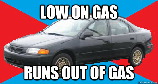 low on gas runs out of gas