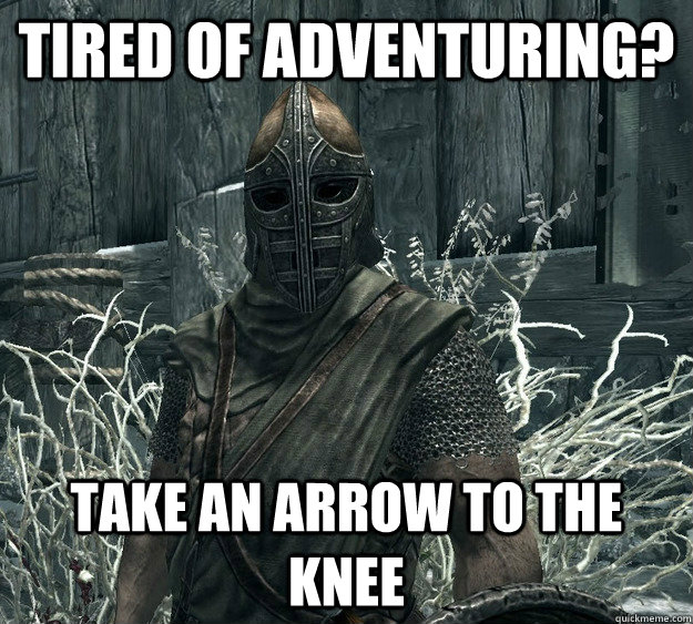 Tired of adventuring? Take an arrow to the knee