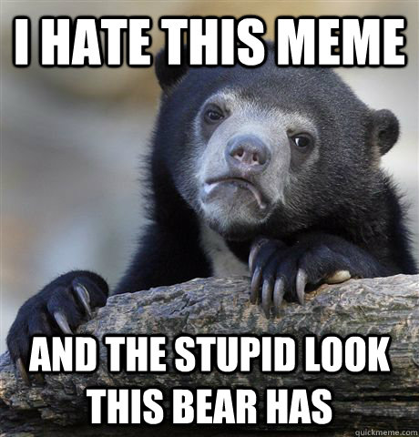 I hate this meme and the stupid look this bear has - I hate this meme and the stupid look this bear has  Confession Bear