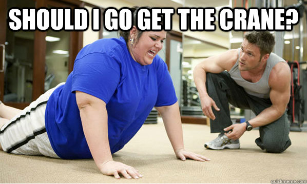 68f9b3e331d9f54de1fc5346f033a84460165f8cdfc855a59c5dbb4b6d18d1cd should i go get the crane? fat people at the gym quickmeme
