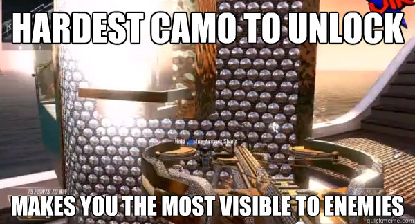 hardest camo to unlock makes you the most visible to enemies  - hardest camo to unlock makes you the most visible to enemies   Misc
