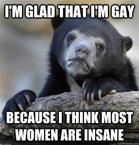 I'm glad that I'm gay Because I think most women are insane - I'm glad that I'm gay Because I think most women are insane  Confession Bear