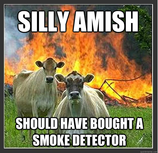Silly amish should have bought a smoke detector - Silly amish should have bought a smoke detector  Evil cows