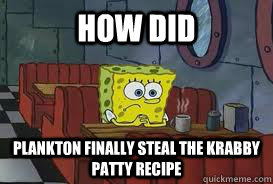 how did  plankton finally steal the krabby patty recipe