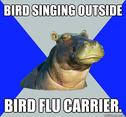 bird singing outside bird flu carrier.  Skeptical Hippo