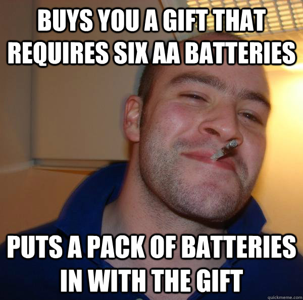 Buys you a gift that requires six aa batteries puts a pack of batteries in with the gift - Buys you a gift that requires six aa batteries puts a pack of batteries in with the gift  Misc