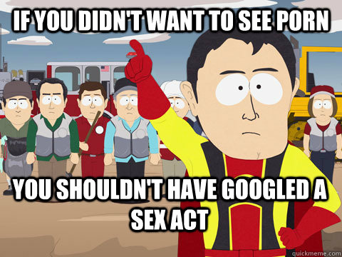 If you didn't want to see porn you shouldn't have googled a sex act - If you didn't want to see porn you shouldn't have googled a sex act  Captain Hindsight