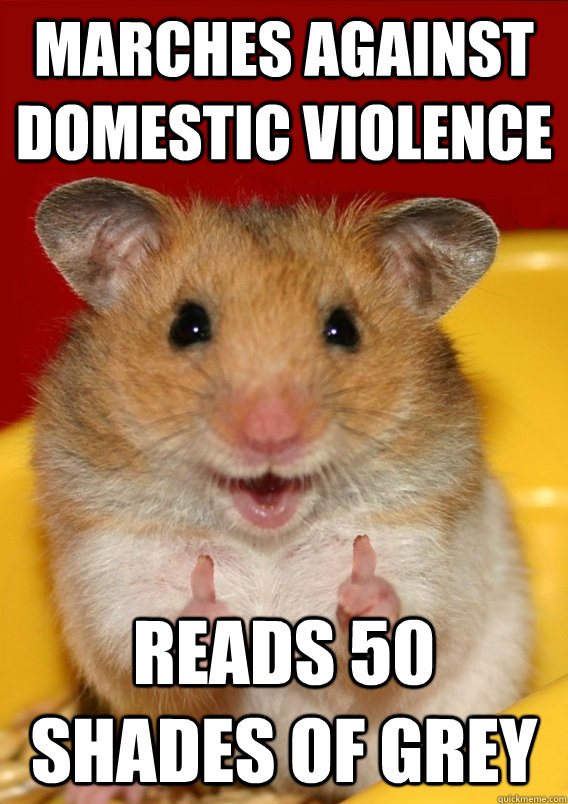 marches against domestic violence reads 50 shades of grey