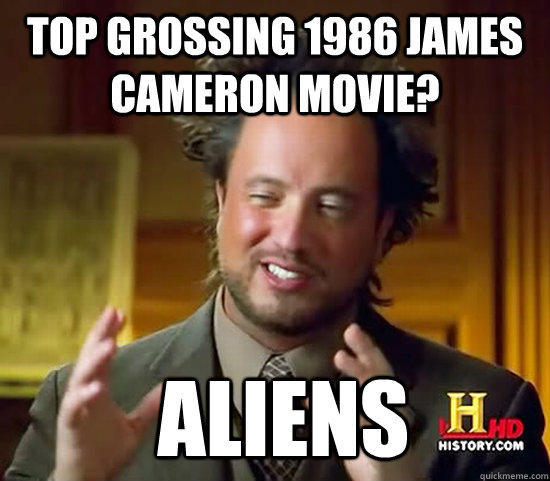 Top grossing 1986 james cameron movie?  Aliens  Ancient Aliens