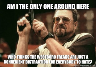 Am I the only one around here who thinks the westboro freaks are just a convenient distraction for everybody to hate? - Am I the only one around here who thinks the westboro freaks are just a convenient distraction for everybody to hate?  Misc