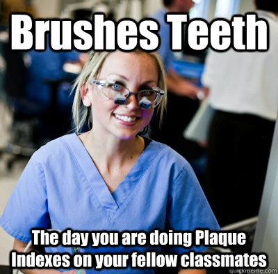 Brushes Teeth The day you are doing Plaque Indexes on your fellow classmates  overworked dental student