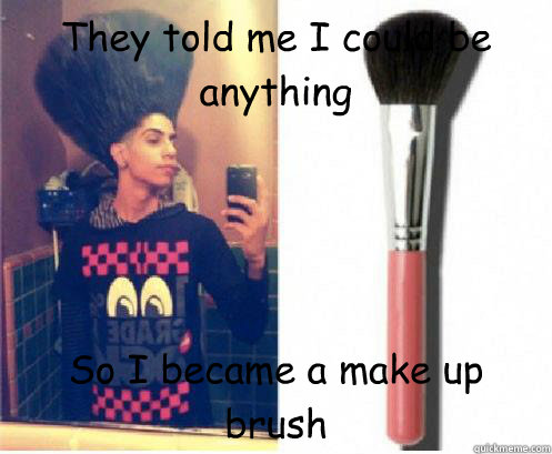 They Told Me I Could Be Anything So I Became A Make Up Brush - Hair - Quickmeme