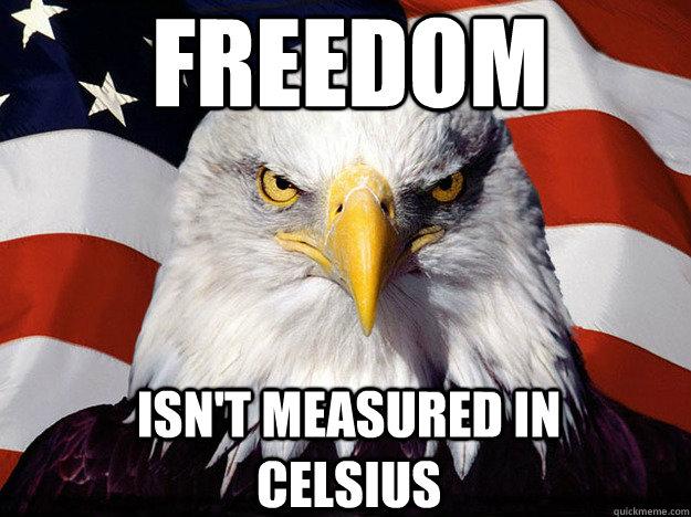 freedom isn't measured in celsius  Patriotic Eagle
