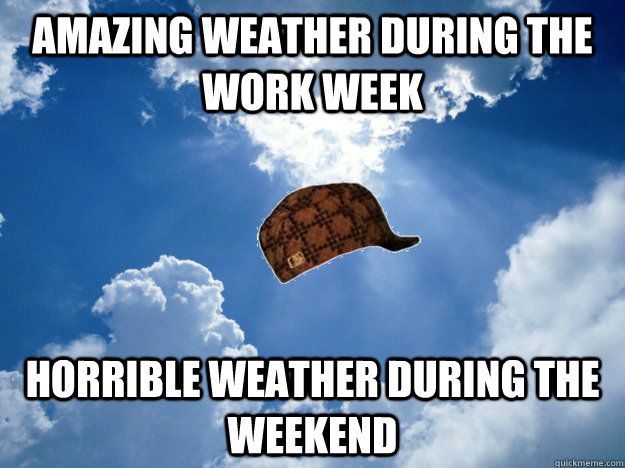Amazing weather during the work week Horrible weather during the weekend