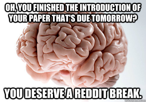 oh, you finished the introduction of your paper that's due tomorrow? you deserve a reddit break. - oh, you finished the introduction of your paper that's due tomorrow? you deserve a reddit break.  Scumbag Brain