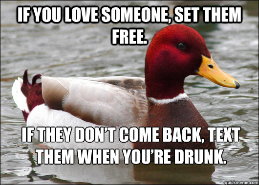 If you love someone, set them free.  If they don't come back, text them when you're drunk. - If you love someone, set them free.  If they don't come back, text them when you're drunk.  Malicious Advice Mallard