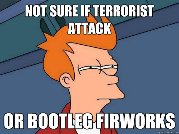 Not sure if terrorist attack Or bootleg firworks - Not sure if terrorist attack Or bootleg firworks  Futurama Fry