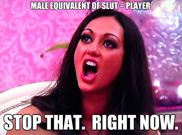male equivalent of slut = player stop that.  right now. - male equivalent of slut = player stop that.  right now.  Feminist Nazi