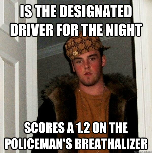 is the designated driver for the night scores a 1.2 on the policeman's breathalizer - is the designated driver for the night scores a 1.2 on the policeman's breathalizer  Scumbag Steve