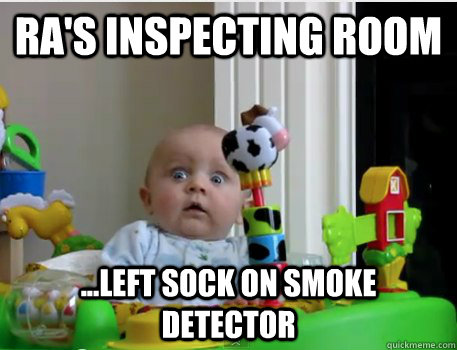Ra's inspecting room ...left sock on smoke detector