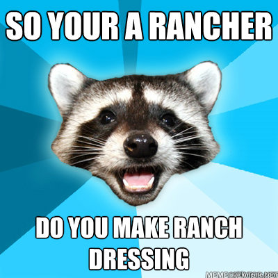 so your a rancher do you make ranch dressing - so your a rancher do you make ranch dressing  Misc