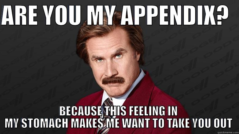 Ron Burgundy pickup line - ARE YOU MY APPENDIX?   BECAUSE THIS FEELING IN MY STOMACH MAKES ME WANT TO TAKE YOU OUT Misc