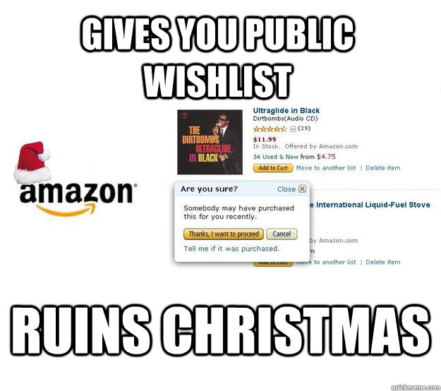 Gives you public wishlist Ruins Christmas