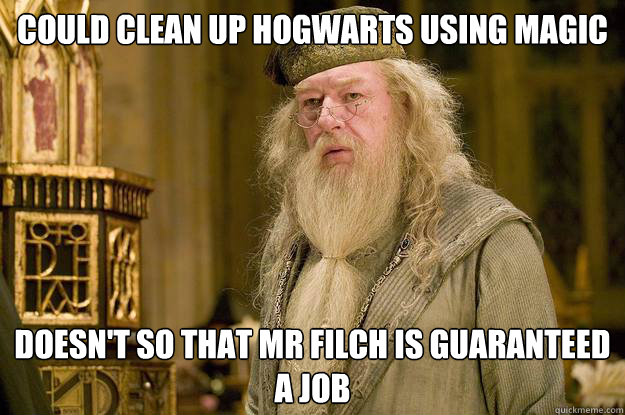 could clean up hogwarts using magic doesn't so that mr filch is guaranteed a job - could clean up hogwarts using magic doesn't so that mr filch is guaranteed a job  Misc
