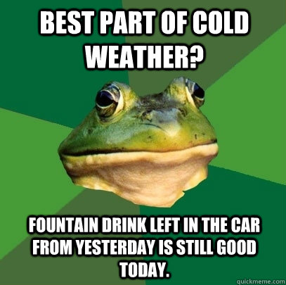 Best part of cold weather? Fountain drink left in the car from yesterday is still good today. - Best part of cold weather? Fountain drink left in the car from yesterday is still good today.  Foul Bachelor Frog
