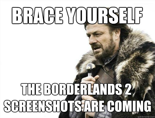 BRACE YOURSELF THE BORDERLANDS 2  SCREENSHOTS ARE COMING - BRACE YOURSELF THE BORDERLANDS 2  SCREENSHOTS ARE COMING  BRACE YOURSELF SOLO QUEUE