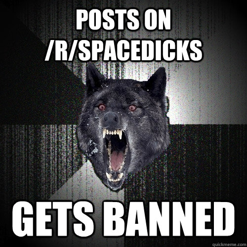 posts on /r/spacedicks gets banned  Insanity Wolf