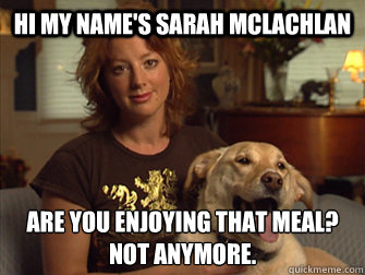 Hi my name's Sarah Mclachlan are you enjoying that meal? not anymore.