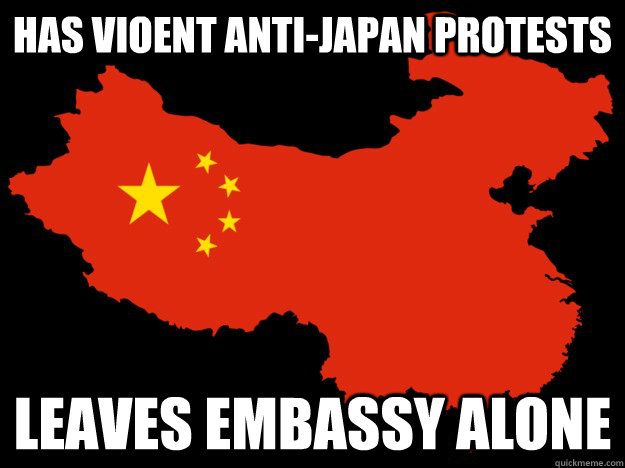 Has vioent anti-Japan protests leaves embassy alone - Has vioent anti-Japan protests leaves embassy alone  Good Guy China