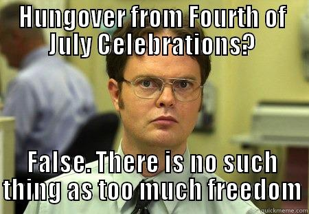 July 4th Dwight - HUNGOVER FROM FOURTH OF JULY CELEBRATIONS? FALSE. THERE IS NO SUCH THING AS TOO MUCH FREEDOM Dwight
