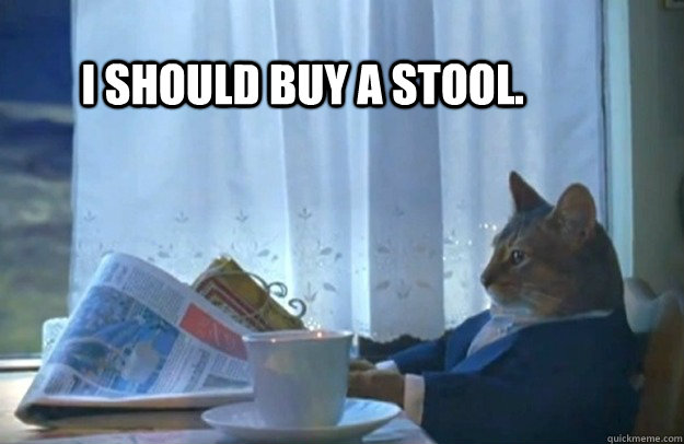 I should buy a stool. - I should buy a stool.  Sophisticated Cat