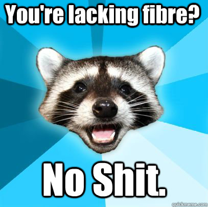 You're lacking fibre? No Shit. - You're lacking fibre? No Shit.  badpuncoon