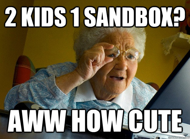 2 kids 1 sandbox? aww how cute