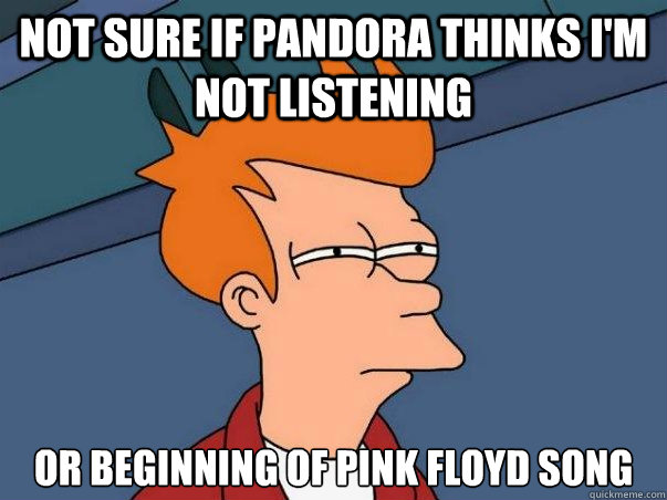 Not sure if Pandora thinks I'm not listening Or Beginning of Pink Floyd song - Not sure if Pandora thinks I'm not listening Or Beginning of Pink Floyd song  Not sure Fry