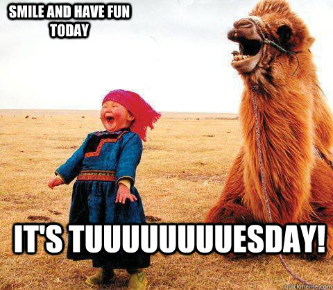 It's tuuuuuuuuesday! Smile and Have Fun today  Its Tuesday